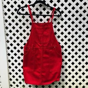 Red Denim Overall Dress